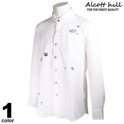 セール 30%OFF ALCOTT HILL アルコットヒル 長袖 カジュアルシャツ メンズ 春夏 プリント 花柄 ロゴ 11-1005-10