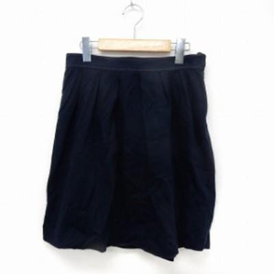 【中古】クミキョク 組曲 KUMIKYOKU スカート フレア 膝丈 サイドジップ シンプル 2 ネイビー /ST6 レディース