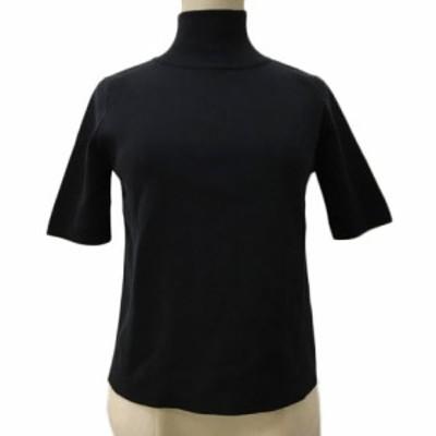【中古】ザデイズトウキョウ セーター ニット プルオーバー ハイネック リブ 無地 五分袖 99 F 黒 ブラック