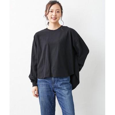 大きいサイズ 綿100% 微起毛ふんわり袖前後差ラウンドヘムTシャツ ,スマイルランド, plus size T-shirts,