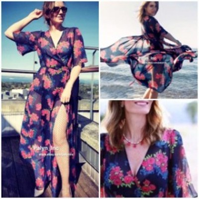 Robe  ファッション ドレス NWT ZARA SS17 2017 FLORAL LONG ROBE TUNIC DRESS CROSSOVER BEACH 2720/493_S M L