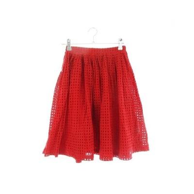 【中古】ダズリン dazzlin スカート フレア ひざ丈 刺繍 F 赤 レッド /CK レディース 【ベクトル 古着】