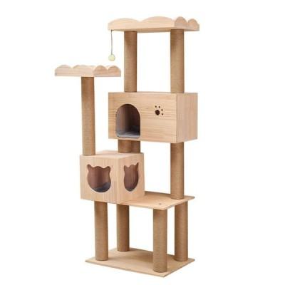 RAKU 猫タワー 木製キャットタワー 据え置き 大型猫 スタンダード式 麻紐 手首より太い支柱 転倒防止 安定性抜群 キャットランド 段差あり 多頭