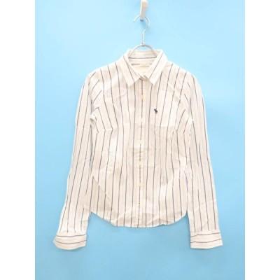 Abercrombie&Fitch(アバクロンビー&フィッチ)ポイント刺しゅうストライプコットンシャツ 長袖 白/紺 レディース Aランク S