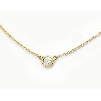 【緑屋質屋】ティファニー バイザヤード ネックレス ダイヤ 0.12ct K18YG【中古】