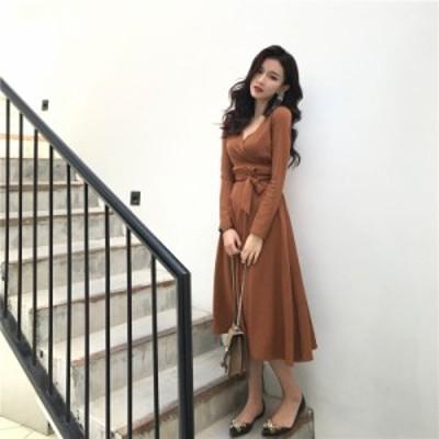 ツーピース フレアスカート 3色 ブラウン グレー ブラック 長袖 エレガント 上品 春秋 ラメ 光沢 Vネック ファッションスーツ