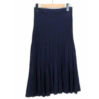 【中古】ダーマコレクション dama collection スカート フレア ニット コットン リネン M 紺 ネイビー レディース