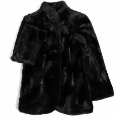 美品▼Arianna MINK アリアンナ ミンク 逆毛切替 裏地ロゴ柄 本毛皮コート ブラック 毛質艶やか・柔らか◎
