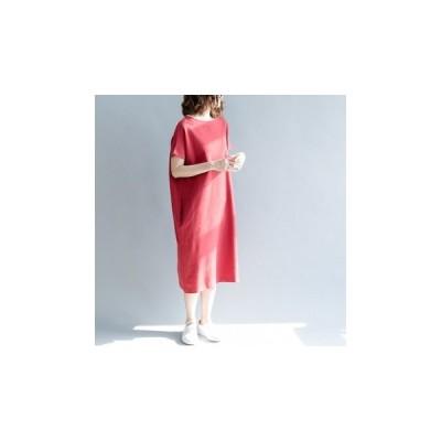ワンピース 半袖 ロング ゆったり シンプル デイリールック 可愛い 大人 お出かけ fe-0502