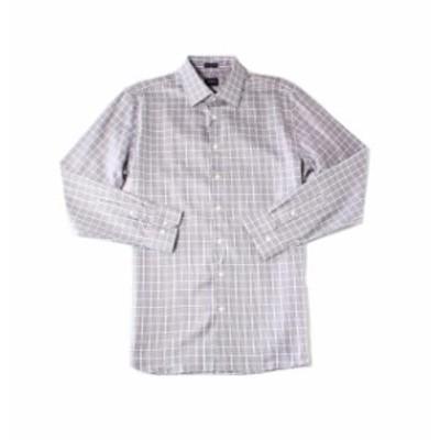 Plaid  ファッション ドレス JWN NEW Navy Blue Mens Size 16 Button-Down Long-Sleeve Plaid Shirt