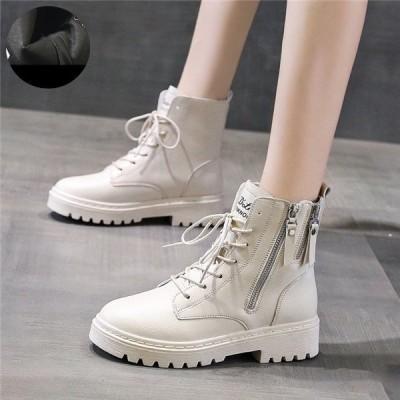 女性靴レディースシューズブーツショートファスナー付きファッションローヒールプラット太ヒールカジュアル裏起毛厚底編み上げブーツ
