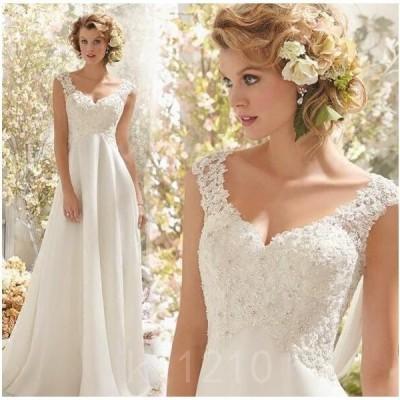 ウェデイングドレス花嫁ドレス袖なし白ドレス二次会お呼ばれシンプルロングドレスVネックエレガント結婚式披露宴新婚旅行