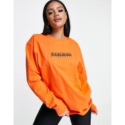 ナパピリ レディース シャツ トップス Napapijri Box long sleeve t-shirt in orange