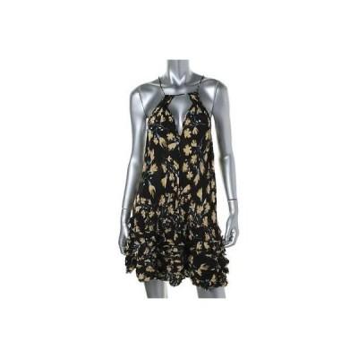 ドレス 女性  フリーピープル フリー People 0131 レディース ブラック ミニ Ruffled Halter カジュアル ドレス S