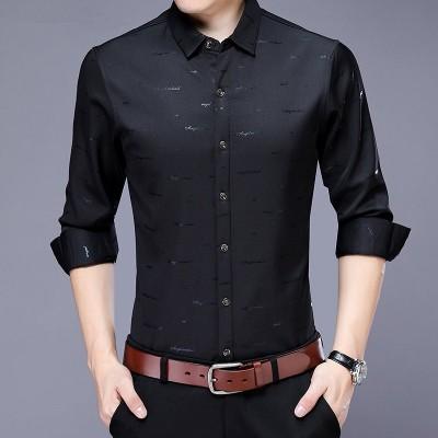春カジュアルシャツプラスサイズ長袖シャツメンズドレスブランド服2020秋トップス新着綿