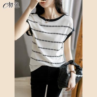初色  冰絲條紋針織衫-白色-(F可選)