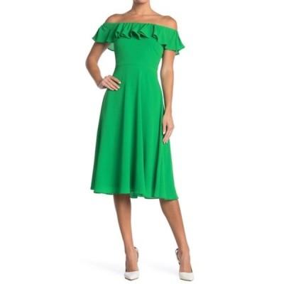ベッツィジョンソン レディース ワンピース トップス Off-the-Shoulder Ruffle Midi Dress (Regular & Plus Size) PINE GREEN