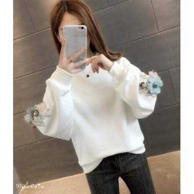 セーター 袖コン 3色展開 ラウンドネック 長袖 花柄 ゆったり デート 韓国