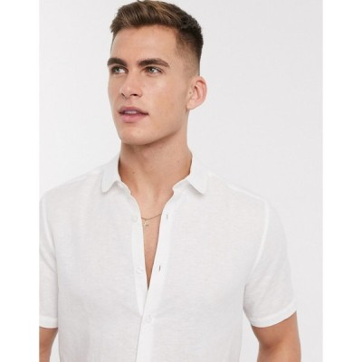 エイソス ワークシャツ メンズ ASOS DESIGN regular fit smart linen shirt with penny collar in white エイソス ASOS ホワイト 白