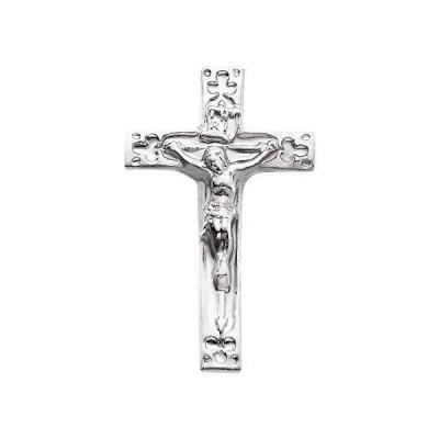 Solid 14k White Gold 20x12mm Crucifix Cross Lapel Pin