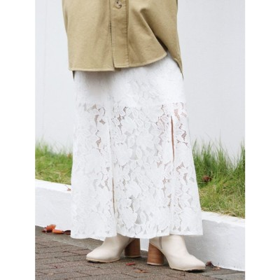 Ungrid スリットレースフィットスカート(オフホワイト)