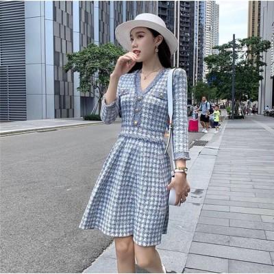 [55555SHOP]新作追加 ワンピース秋冬の新品ドレス日系ファッション Vネック ウエストスリム 小さな香りの ニット ワンピース 文芸気质やせワンピースドレス