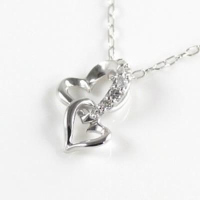 Brand Jewelry me. K10ホワイトゴールド ダイヤモンドペンダントネックレス ハートモチーフ