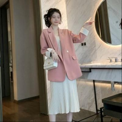 レディース テーラードジャケット アウター ゆるシルエット オーバーサイズ 長袖 キュート ピンク ブラック S M L サイズ 送料無料