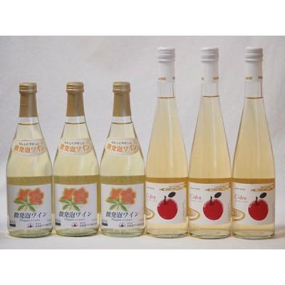 国産甘口スパークリングワイン6本セット 北海道おたる微発泡白×3本 Cidre×3本 計500ml×6本