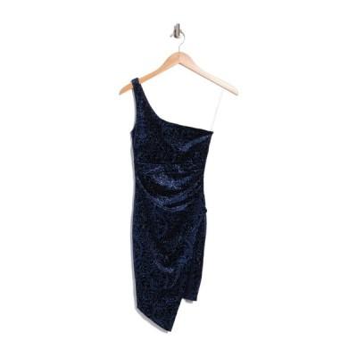 ラブニッキールー レディース ワンピース トップス One Shoulder Glitter Velvet Dress NAVY