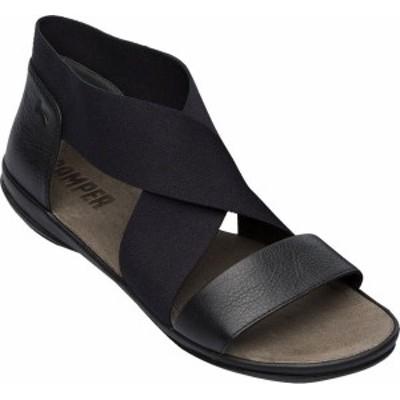 カンペール レディース サンダル シューズ Women's Camper Right Nina Ankle Strap Sandal Black Calfskin/Elastic