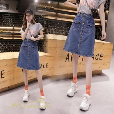 デニムスカート レディース 2021新作 韓国風 学生 Aラインスカート ハイウエスト 大きいサイズ ひざ丈 上品 デニム 着痩せ 日常感 カジュアルスカート おしゃれ