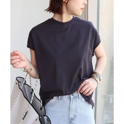 アンドミー and Me USAコットンフレンチスリーブ裾ラウンドTシャツ トップス (チャコールグレー)