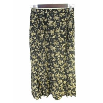 【中古】ロイスクレヨン Lois CRAYON フレアー スカート ロング 花柄 黒 ブラック M レディース