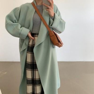 アウター コート ロング丈 お出かけ フェミニン エレガント きれいめ カジュアル 大人可愛い 韓国ファッション