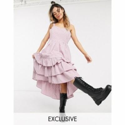 リトルサニーバイト Little Sunny Bite レディース ワンピース キャミワンピ ワンピース・ドレス cami dress with frill tiers in gingha