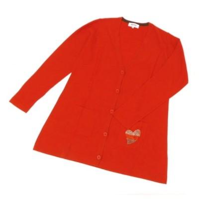 ソニアリキエル SONIA RYKIEL 長袖カーディガン ハートラインストーン付き オレンジレッド 毛50%、アクリル50%(52955)