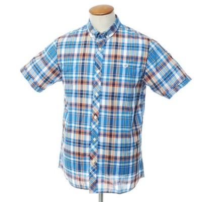 未使用 フレッドペリー FRED PERRY コットン チェック 半袖 ボタンダウン シャツ ブルー×オレンジ M