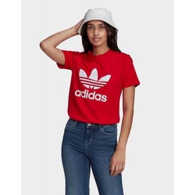 アディダス adidas Originals レディース Tシャツ トップス adicolor classics trefoil t-shirt red