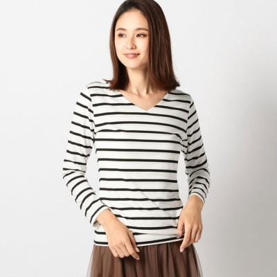 ミューズ MEW'S ヒートウォームVロングTシャツ (シロクロ)