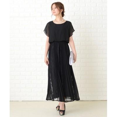 ドレス 袖無しシフォンレースロングワンピースドレス