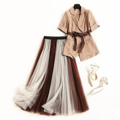 ストライプスモールスーツスーツスカートサマージャケットメッシュスカートツーピースセット