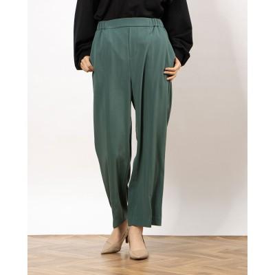 ラナン Ranan 裾スリットワイドパンツ (ブルーグリーン)