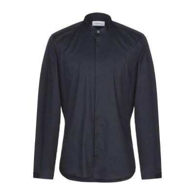 HAMAKI-HO 無地シャツ ファッション  メンズファッション  トップス  シャツ、カジュアルシャツ  長袖 ダークブルー