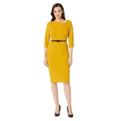 ドナモーガン レディース ドレス  3/4 Sleeve Cowl Neck Crepe Midi Dress