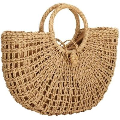 ハンドルバックレディース草編みバッグ 手提げカバン ショルダーバッグ かごバッグ 大容量 リゾート 編みかご 旅行用 軽量 人気 プレゼント