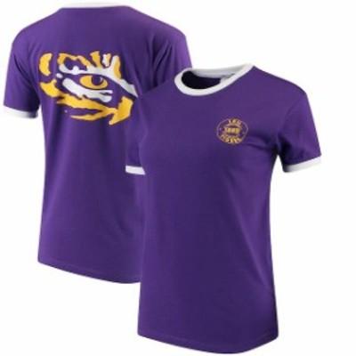chicka-d チッカ スポーツ用品  chicka-d LSU Tigers Womens Purple Ringer T-Shirt