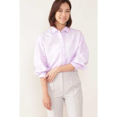 ◆[ウォッシャブル]ボリュームスリーブシャツ パープル