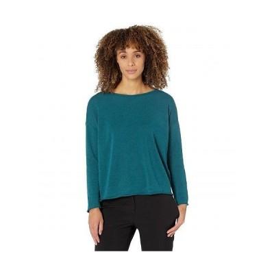 Eileen Fisher アイリーンフィッシャー レディース 女性用 ファッション Tシャツ Bateau Neck Box Top in Organic Linen Cotton - Aegean