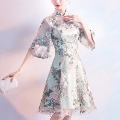 ドレス キャバ ドレス 膝丈 ドレス 袖あり ドレス 五分丈袖 ドレス セクシー ドレス セクシーチャイナ ドレス 大きいサイズ ドレス チャ